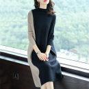 Dress Autumn 2020 Red, black, white vest M,L,XL,2XL,3XL Mid length dress singleton  Long sleeves commute High waist Korean version other