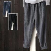 Casual pants Grey, Navy, Burgundy, black S,M,L,XL,2XL,3XL,4XL,5XL Spring 2021 Cropped Trousers Haren pants Versatile routine 816# Cotton blended fabric