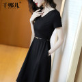 Dress Summer 2021 Black (belt) S M L XL XXL Mid length dress singleton  Short sleeve commute V-neck middle-waisted Solid color Socket Big swing routine 30-34 years old Type A Qianna'er lady Chain Pocket zipper 51% (inclusive) - 70% (inclusive) nylon Exclusive payment of tmall