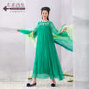 Dress Spring 2021 Pine green pink purple S M L XL longuette singleton  Long sleeves Crew neck Loose waist Socket other pagoda sleeve 30-34 years old Type H A life on the left Embroidery More than 95% silk Mulberry silk 100%
