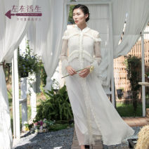 Dress Summer of 2018 Warm air off white off white 1 warm air 1 S M L XL Mid length dress Two piece set Long sleeves commute stand collar Loose waist Single breasted A-line skirt routine 25-29 years old A life on the left lady More than 95% other silk Mulberry silk 100%