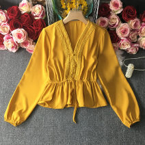shirt Average size Summer 2021 cotton 30% and below Long sleeves Versatile Short style (40cm < length ≤ 50cm) V-neck Socket puff sleeve Solid color 18-24 years old Self cultivation Chiffon