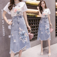 Fashion suit Summer 2021 S,M,L,XL One piece blue T + white skirt 25-35 years old Other / other cotton