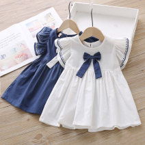Dress White, Navy female Other / other Size 90 (recommended height 80cm), size 100 (recommended height 90cm), Size 110 (recommended height 100cm), Size 120 (recommended height 110cm), Size 130 (recommended height 120cm) Other 100% summer fresh Short sleeve Solid color cotton A-line skirt KT2024