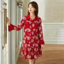 Women's large Spring 2021 gules L XL 2XL 3XL 4XL 5XL Dress singleton  commute easy moderate Socket Long sleeves Decor Korean version square neck pagoda sleeve Cymbidium hybridum 30-34 years old pocket 51% (inclusive) - 70% (inclusive) Medium length Pure e-commerce (online only) other