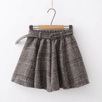 skirt Autumn of 2018 Single code Red, black, light coffee Short skirt grace High waist Pleated skirt lattice Type A 18-24 years old 51% (inclusive) - 70% (inclusive) Wool