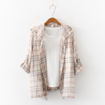 shirt Light grey, Khaki Average size Summer of 2019 cotton 96% and above Long sleeves commute Hood Single row multi button routine lattice 18-24 years old Straight cylinder Retro