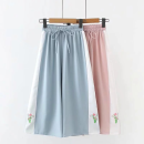 Casual pants Blue, pink, blue cherry, black cherry, pink cherry, light blue sunflower, pink sunflower, purple sunflower, black sunflower M, L Summer 2020 Ninth pants Wide leg pants Sweet routine Under 17 81% (inclusive) - 90% (inclusive) other Embroidery solar system