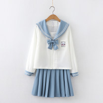 student uniforms Spring 2021 White Long Sleeve + bow, blue skirt S,M,L Long sleeves solar system Under 17 pure cotton 96% and above