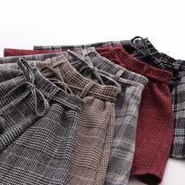 skirt Winter 2020 M, L Light gray, red, black, khaki, dark gray, red belt, light gray belt, khaki belt Short skirt Versatile High waist Pleated skirt lattice Type A Under 17 71% (inclusive) - 80% (inclusive) Wool other Fold, lace up, zipper, open line decoration, stitching