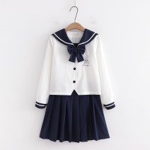 Fashion suit Spring 2021 S,M,L White long sleeve + Bow tie , Tibetan long sleeve + Bow tie , Tibetan skirt , White skirt Under 17 81% (inclusive) - 90% (inclusive) cotton