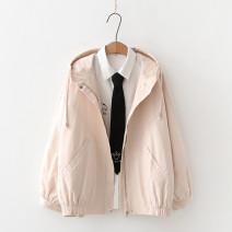 short coat Autumn 2020 S,M,L Apricot Long sleeves routine routine singleton  easy Versatile routine Hood zipper Solid color 18-24 years old 91% (inclusive) - 95% (inclusive) Zipper, pocket cotton cotton