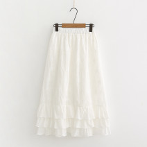 skirt Summer of 2019 Average size White, white embroidery longuette fresh Solid color 18-24 years old 51% (inclusive) - 70% (inclusive) cotton
