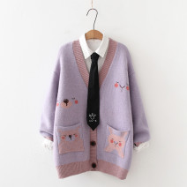 Wool knitwear Autumn 2020 Average size Gray, purple Long sleeves singleton  Cardigan other 81% (inclusive) - 90% (inclusive) Medium length thick Sweet easy V-neck routine Animal design Single breasted 18-24 years old solar system