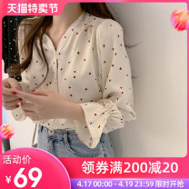 shirt Red, black, apricot XS S M L XL 2XL 3XL Spring 2021 polyester fiber 96% and above Long sleeves commute Regular V-neck Single row multi button shirt sleeve Dot 25-29 years old Self cultivation Lepidoptera Korean version D022 Polyester 100%