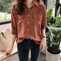 Women's large Winter of 2019 White, blue, rust red Large L, large XL, m, 2XL, 3XL, 4XL shirt singleton  commute easy moderate Cardigan Long sleeves stripe Korean version Polo collar routine polyester shirt sleeve FBL202004 25-29 years old Button