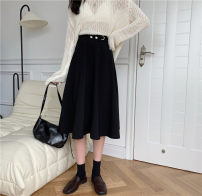 skirt Autumn 2020 M,L,XL,2XL,3XL,4XL black Mid length dress Versatile High waist A-line skirt Solid color Type A 71% (inclusive) - 80% (inclusive) other polyester fiber Fold, tridimensional decoration, strap, button