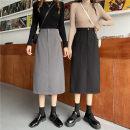 skirt Autumn 2020 M,L,XL,2XL,3XL,4XL Black, gray Mid length dress commute High waist Irregular Solid color Type A 81% (inclusive) - 90% (inclusive) other polyester fiber Button, zipper Korean version
