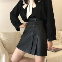 skirt Autumn 2020 M,L,XL,2XL,3XL,4XL black Short skirt Versatile High waist Pleated skirt Solid color Type A 51% (inclusive) - 70% (inclusive) other PU Fold, three-dimensional decoration, asymmetry, button, zipper