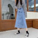 skirt Autumn 2020 M,L,XL,2XL,3XL,4XL Picture color Mid length dress commute High waist A-line skirt Solid color Type A 81% (inclusive) - 90% (inclusive) Denim polyester fiber tassels , pocket , Make old , zipper Korean version