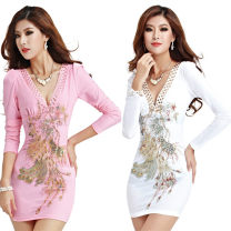 Dress Spring 2020 White, pink, red S,M,L,XL,2XL,3XL Short skirt singleton  Long sleeves commute V-neck middle-waisted Animal design Socket One pace skirt Others Korean version Embroidery, sequins