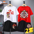 T-shirt Mimi Mecca 110cm 120cm 130cm 140cm 150cm 160cm 165cm male summer Short sleeve Crew neck leisure time There are models in the real shooting nothing cotton Cartoon animation Cotton 100% MM21051311757 Class B Sweat absorption Summer 2021 Chinese Mainland Hubei province Yichang City