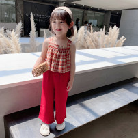 suit EYAE KIDS gules 90cm,100cm,110cm,120cm,130cm,140cm female summer leisure time Sleeveless + pants 2 pieces routine There are models in the real shooting Socket nothing other cotton friend Giving presents at school B0220 Class B Cotton 90% other 10% Three, four, five, six, seven, eight, nine