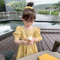 Dress yellow female EYAE KIDS 90cm,100cm,110cm,120cm,130cm,140cm,150cm,160cm Cotton 90% other 10% summer Korean version Short sleeve Solid color cotton other Class B Three, four, five, six, seven, eight, nine Chinese Mainland Zhejiang Province Hangzhou