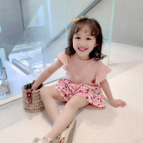 suit EYAE KIDS Pink 90cm,100cm,110cm,120cm,130cm,140cm female summer leisure time Short sleeve + pants 2 pieces routine There are models in the real shooting Socket nothing other cotton friend Giving presents at school B0235 Class B Cotton 95% other 5% Three, four, five, six, seven, eight, nine