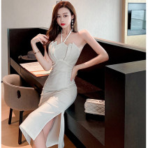 Dress Summer 2021 white S,M,L Mid length dress singleton  Sleeveless commute One word collar High waist Solid color zipper One pace skirt camisole 25-29 years old Type X Ol style Backless, pleated, stitched, zipper
