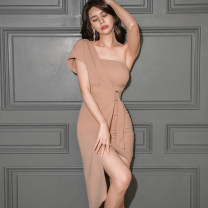 Dress Summer 2020 Picture color S,M,L,XL Short skirt singleton  Short sleeve commute One word collar middle-waisted Solid color zipper Irregular skirt other Oblique shoulder Type X Ol style