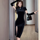 Dress Winter 2020 Black [free sleeves] S,M,L Mid length dress singleton  Long sleeves commute stand collar middle-waisted Solid color other One pace skirt routine Others 25-29 years old Type X Korean version Splicing, three-dimensional decoration