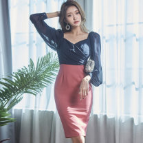 Dress Winter 2020 Picture color S,M,L,XL Mid length dress singleton  Long sleeves commute square neck High waist Solid color zipper One pace skirt puff sleeve Others 25-29 years old Type X Korean version Bow, open back, fold, stitching, zipper