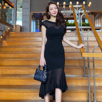 Dress Spring 2020 black S,M,L,XL Mid length dress singleton  Short sleeve commute Crew neck middle-waisted Solid color zipper Irregular skirt routine Others 25-29 years old Type X Korean version Ruffle, stitching, asymmetric, zipper