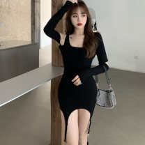 Dress Spring 2021 White, black S,M,L Short skirt singleton  Long sleeves commute Slant collar High waist Solid color Socket One pace skirt routine Others 25-29 years old Type X Korean version Open back, stitching