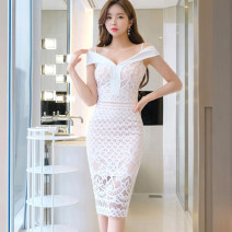 Dress Summer 2020 White, blue grey S,M,L,XL Mid length dress singleton  commute One word collar middle-waisted Solid color zipper One pace skirt camisole 25-29 years old Type X Korean version Backless, stitching, zipper, lace
