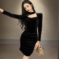Dress Winter 2020 black S,M,L Short skirt singleton  Long sleeves commute Crew neck High waist Solid color zipper One pace skirt routine Others 25-29 years old Type X Korean version Hollowed out, pleated, stitched, zipper