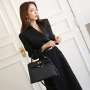 Dress Autumn of 2019 Black (belt) S,M,L,XL longuette other Long sleeves commute tailored collar middle-waisted Solid color double-breasted One pace skirt routine Others Type H Ol style Button, button