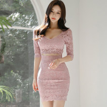 Dress Spring 2021 Pink S,M,L,XL Short skirt singleton  three quarter sleeve commute Crew neck middle-waisted Solid color zipper One pace skirt routine Others 25-29 years old Type X Korean version Cutout, stitching, zipper
