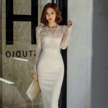 Dress Autumn of 2019 White, black S,M,L,XL Mid length dress other Long sleeves commute V-neck middle-waisted Solid color zipper One pace skirt routine Others Type X Ol style Backless, stitching, zipper, lace
