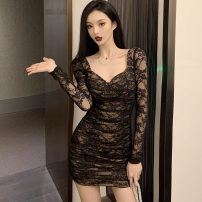 Dress Spring 2021 black S,M,L Short skirt singleton  Long sleeves commute square neck High waist Solid color Socket One pace skirt routine Others 25-29 years old Type X Korean version Backless, pleated, stitched, lace