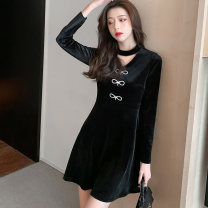 Dress Winter 2020 black S,M,L,XL Short skirt singleton  Long sleeves commute Crew neck High waist Solid color zipper A-line skirt routine Others 25-29 years old Type A Korean version Bowknot, hollow out, stitching, zipper