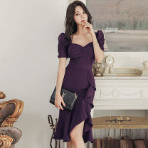 Dress Spring 2020 Deep purple S,M,L,XL Mid length dress singleton  Short sleeve commute V-neck middle-waisted Solid color zipper Irregular skirt routine Others 25-29 years old Type X Korean version