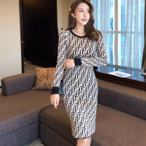 Dress Autumn 2020 Picture color S,M,L,XL Middle-skirt singleton  Long sleeves commute Crew neck middle-waisted letter Socket One pace skirt routine Others 25-29 years old Type X Korean version Splicing