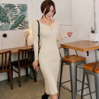 Dress Autumn 2020 Apricot S,M,L,XL Mid length dress singleton  Long sleeves commute V-neck middle-waisted Solid color Socket One pace skirt routine Others 25-29 years old Type X Korean version Splicing