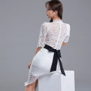 Dress Spring 2021 White, black S,M,L,XL Mid length dress singleton  elbow sleeve commute stand collar High waist Solid color zipper One pace skirt routine Others 25-29 years old Type X Korean version Bowknot, backless, stitching, zipper, lace