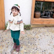 Sweater / sweater 80cm,90cm,100cm,110cm,120cm,130cm wool female Woolen jacket with neck, dark green twist knitted skirt, blue corduroy trousers in stock Other / other Cotton 70% wool 30%