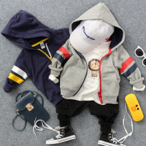 Plain coat Other / other male The recommended height is about 90 for size 2-3, 100 for size 3-4, 110 for size 4-5, 120 for size 5-6 and 130 for size 7-8 4817z color matching Hoodie Navy, 4817z color matching Hoodie light gray spring and autumn Zipper shirt No model routine No detachable cap cotton