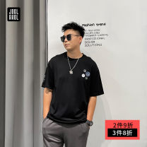 T-shirt Youth fashion black routine 4XL 5XL 6XL 2XL 3XL Joglakol / jorag Short sleeve Crew neck easy Other leisure summer C1094 Cotton 78.9% polyester 21.1% Large size routine tide Summer 2021 Solid color printing Creative interest No iron treatment Pure e-commerce (online only)