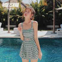 one piece  Yi Meishan S M L XL One piece flat corner swimsuit With chest pad without steel support Spandex polyester Autumn of 2019 no female Sleeveless Casual swimsuit lattice Hollowing out
